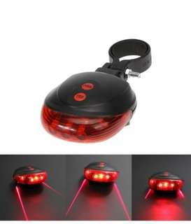 Bike Accessory Laser Tail Lamp 5 LED Bicycle Rear Light