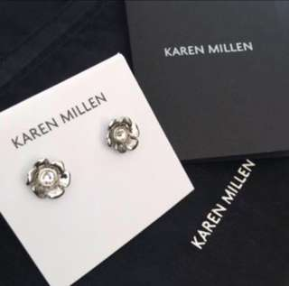 (NEW) Karen Millen Silver Floral Stud Earrings