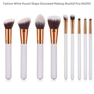 Fashion White Round Shape Decorated Makeup Brush(9 Pcs) E62055