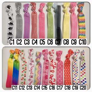 Design hair ties ($2 for 5, $3 for 10, free local mailing or meet up)