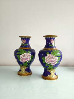 Vintage Blue With Pink Peony Flowers Cloisonnes Vase Height 26cm Perfect Condition Pair For $600