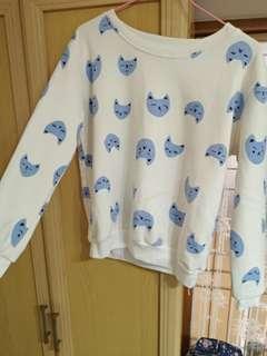🚚 可愛藍色貓咪刷毛上衣