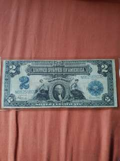 1899 Series United States of America Two Silver Dollars Banknote