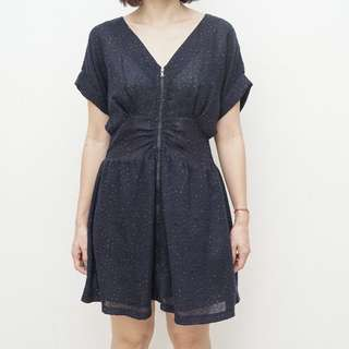 st. a - Sack Dress with Front Zipper - Blue - Size S