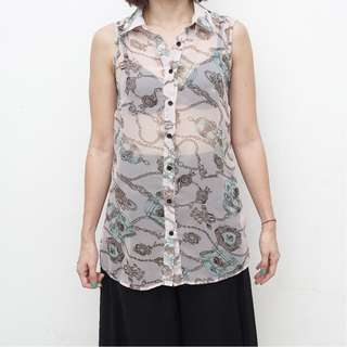 L'Atiste By Amy - Patterned Sleeveless Top with Back Details - Size S