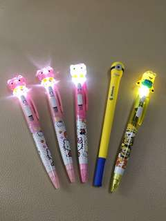 Hello kitty and Minion Pen with lights