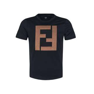 Authentic Fendi Men FF Logo Black Tshirt