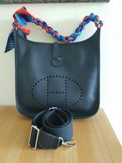 Hermes Evelyne PM Nior (black) TC leather
