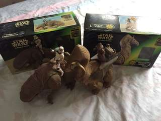 Star Wars The Power Of The Force (Dewback & Stormtrooper and Ronto & Jawa Figures) Loose but Complete with Box!