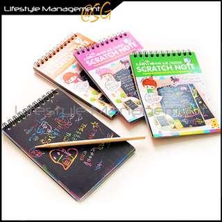 Mini Art/Graffiti Scratch Color DIY Creative Sketch/Note Book/Pad Rainbow Notebook/Notepad