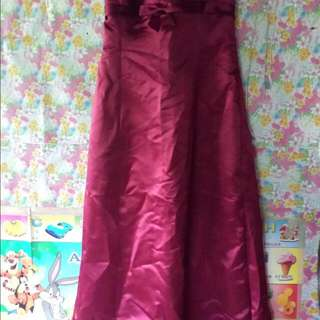 Maroon Tube Gown