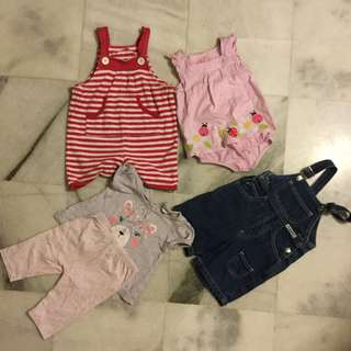 Preloved 6-12mo baby girl clothing, 1 denim romper, 2 romper, 1 tee& legging set, postage rm8