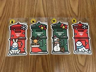 🚚 日本郵便局 郵筒明信片2015、2016冬、聖誕節四張一組