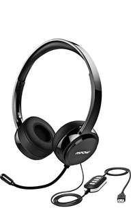 (19) Mpow 071 USB Headset/3.5mm Computer Headset with Microphone Noise Cancelling, Lightweight PC Headset Wired Headphones