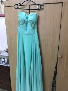 Gretchen Pichay Mint Green Long Beaded Gown Size Small
