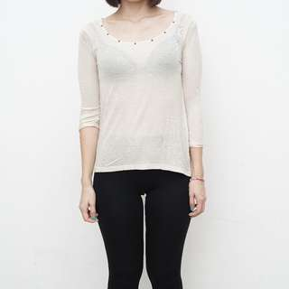 ZARA - Long Sleeve Knit with Back Lace Details - Size S