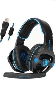 (48) SADES SA903S Gaming Headset 7.1 Surround Sound USB PC Computer Stereo Game Headphone with Microphone LED Light(Blackblue)