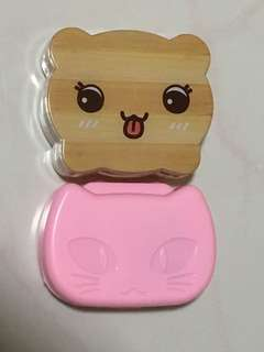 Contact lenses cute case with mirror