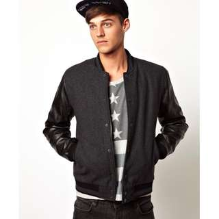🚚 英國 ASOS 羊毛 黑色 深灰色 百搭 棒球外套 拼接 皮衣 Leather Jacket superdry CK