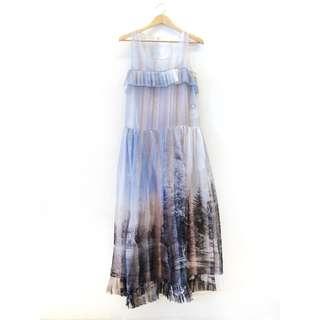 Fendi 芬迪  粉藍色風景印花無袖長洋裝