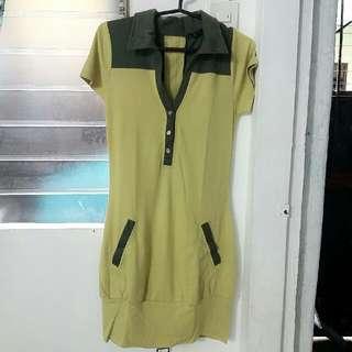 Collared Mustard Dress