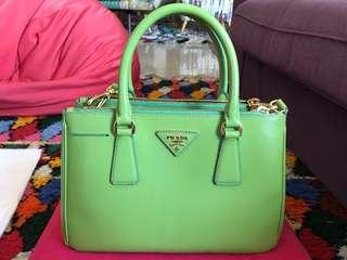 Prada Saffiano Lux Leather Small Double Zip Tote Bag