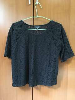 Topshop lace back half sleeve blouse top