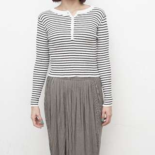 Pomelo - Welch Striped Long Sleeve Tee - White - Free Size
