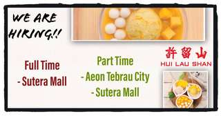 Part time & Full time needed: - Aeon Tebrau City  - Sutera Mall