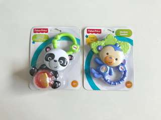 BN Fisher Price Panda Rollerball Rattle and Monkey Teether