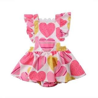 Cute Pink Heart Romper Dress