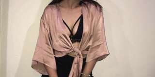Pink tie front top