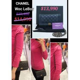 98% New CHANEL A80287 LeBoy Boy WOC CC Logo  深藍色 牛皮 金鏈 肩背袋 手袋 in Navy Blue Calfskin Handbag with Gold Hardware