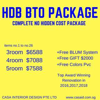 HDB BTO Complete No Hidden Cost Package 2018 Best Price!  Your Trusted Reno Company