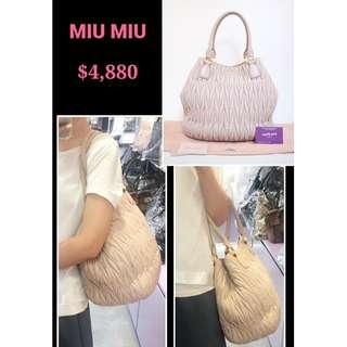80% New MIU MIU RR1897 Matelasse Cammeo 淺粉紅色 羊皮 肩背袋 手提袋 手袋  Pink Lambskin Handbag