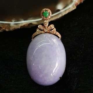 18K Rose Gold Type A Burmese Jade Jadeite Lavender Pendant - 17.65g L27.9 W21.1 D13.5mm