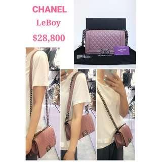 99% New CHANEL A67086 LeBoy Boy 粉紫色 牛皮 漆皮 銀鏈 CC Logo 肩背袋 手袋 Pink Purple Calfskin Patent CC Logo Handbag with Silver Hardware