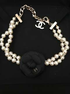 Chanel Pearl Choker with Brooch