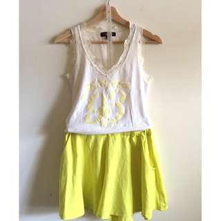 jojo蕾絲拼接棉質背心上衣(二手)+螢光黃短褲(二手) 一套