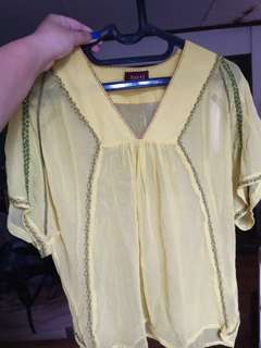Joolay Clothing Yellow Batwing Blouse