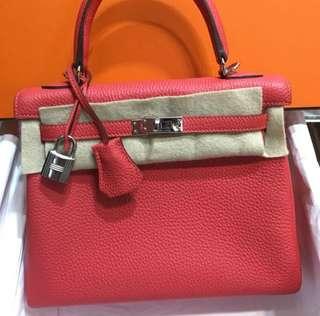 正品 未使用 Hermes Kelly 25 2R Rouge Pivone 蜜桃粉色銀扣手挽側揹袋