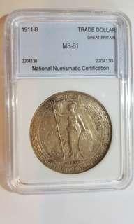 1911-B年英國貿易壹圓銀幣,已評MS-61份一枚