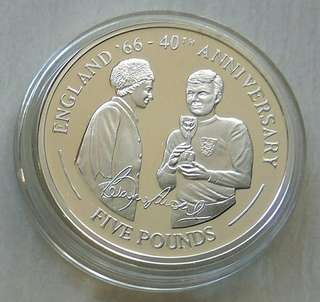 "Gibraltar 2006 ""1966 World Cup, England As Champion 40th Anniversary""£5 Silver Proof Coin"