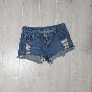 Korean style ripped denim shorts