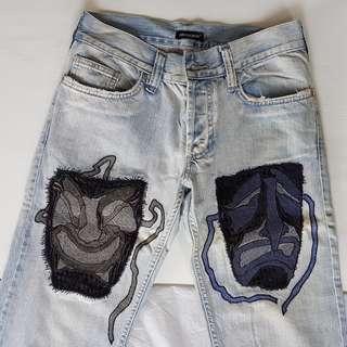 Retro Roberto Cavalli, Vintage Design, Rare Roberto Cavalli Designer Denim Jeans, Italy, Authentic, so Stylish, so Chic, so Fashionable, Unusual Style, a Celebration of Venice, Exotic Face Masks, Collectables