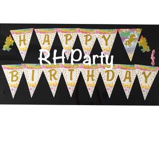 (9/6) Happy birthday unicorn party banner (glittering gold alphabets/ letters)