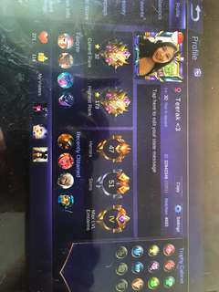 Selling Android Mobile Legend account with 6896 diamonds!