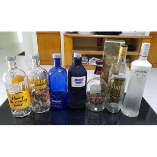 Empty liquor bottle collection for sale