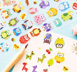 Colourful Owls Scrapbook / Planner Stickers #135