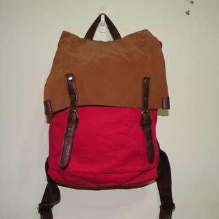 紅色造型後背帆布包(二手)